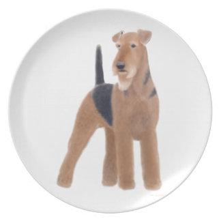 Die freundliche Hundeplatte Airedales Terrier Melaminteller