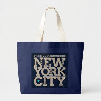 Die fünf Städte der New- York CityTaschen-Tasche Jumbo Stoffbeutel