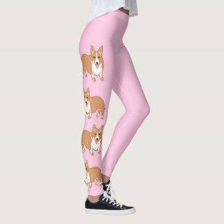 Die Gamaschen der Corgi-Muster-hellrosa Frauen Leggings