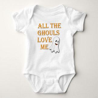 Die ganze Ghouls-Liebe ich Geist-orange Baby Strampler