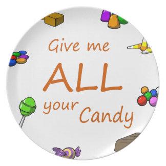 die ganze Süßigkeit Teller