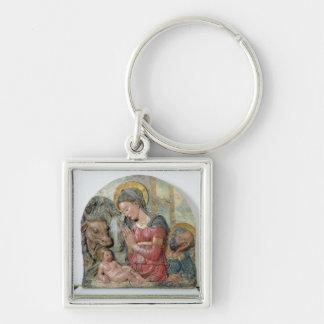 Die Geburt Christi, c.1460 (gemalte Terrakotta) Silberfarbener Quadratischer Schlüsselanhänger