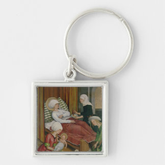 Die Geburt der Jungfrau, c.1500 Silberfarbener Quadratischer Schlüsselanhänger