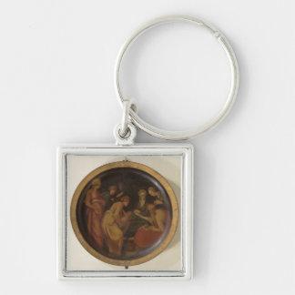 Die Geburt von Johannes der Baptist, c.1526 (Öl an Silberfarbener Quadratischer Schlüsselanhänger