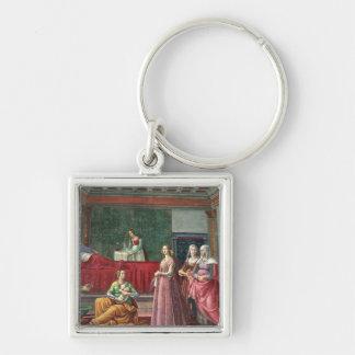Die Geburt von Johannes der Baptist (Fresko) (sehe Silberfarbener Quadratischer Schlüsselanhänger