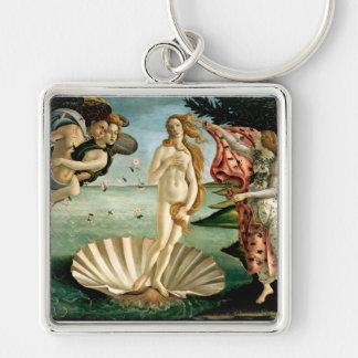 Die Geburt von Venus durch Botticelli Silberfarbener Quadratischer Schlüsselanhänger