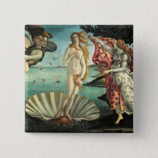 Die Geburt von Venus - klassische Kunst durch Quadratischer Button 5,1 Cm