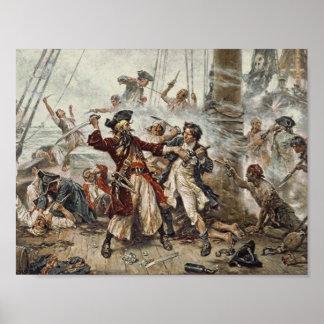 Die Gefangennahme von Blackbeard der Pirat Poster