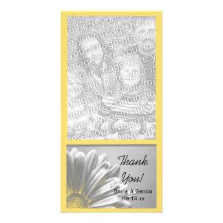 Die gelben Wedding Blumenhöhepunkte danken Ihnen Fotokartenvorlagen