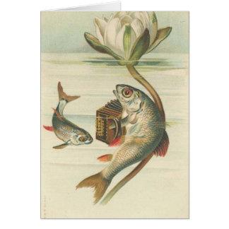 die Gesang-Fische Vintage Karte