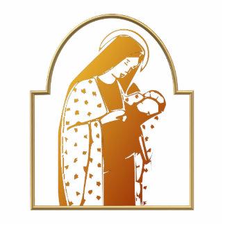 Die gesegnete Jungfrau Mary, die Baby Jesus hält Freistehende Fotoskulptur