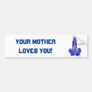 Die gesegnete Jungfrau Mary (mit blauen Rosen) Autoaufkleber