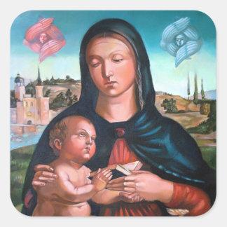 Die gesegnete Jungfrau Mary mit Jesus und Engeln Quadratischer Aufkleber