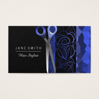 Die Girly blaue u. schwarze Rose scissor Entwurf Visitenkarte