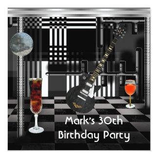 Die Gitarre der Geburtstags-Party-30. Männer Quadratische 13,3 Cm Einladungskarte