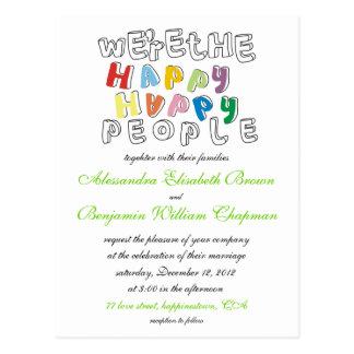 die glücklichen glücklichen wedding Leute laden Postkarte