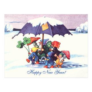 Die Gnomes des guten Rutsch ins Neue Jahr Postkarte