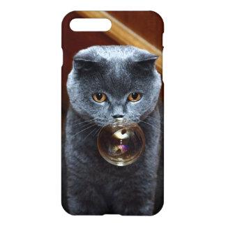 Die graue Katze Briten züchten mit großen gelben iPhone 8 Plus/7 Plus Hülle