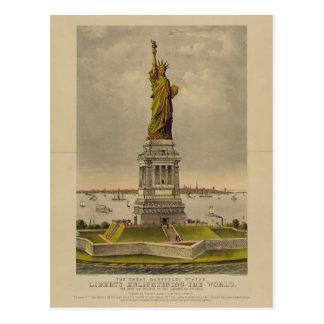 Die große Bartholdi Statue durch Ives 1885 Postkarte