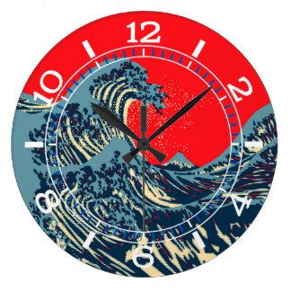 Die große Hokusai Welle in der Pop-Kunst-Art-Skala Große Wanduhr