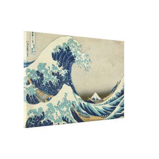 Die große Welle durch Hokusai, Vintage hölzerner Leinwanddruck