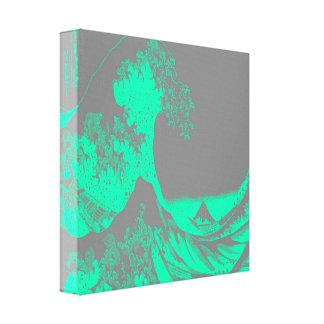 Die große Welle Seafoam grüne u. Grau Leinwanddruck