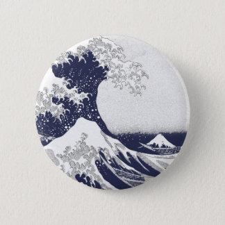 Die große Welle weg von Kanagawa (神奈川沖浪裏) Runder Button 5,7 Cm
