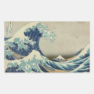 Die große Welle weg von Kanagawa Rechteckige Sticker