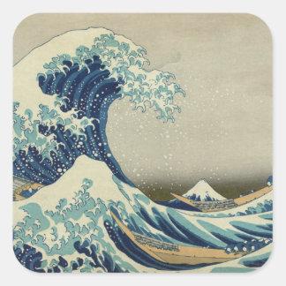 Die große Welle weg von Kanagawa Quadrat-Aufkleber