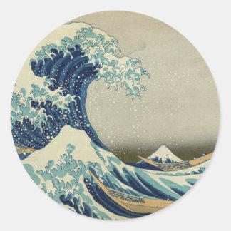 Die große Welle weg von Kanagawa Runder Aufkleber