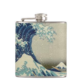 Die große Welle weg von Kanagawa Flachmann