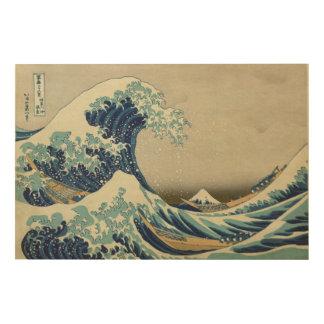 Die große Welle weg von Kanagawa - Hokusai 葛飾北斎 Holzleinwand