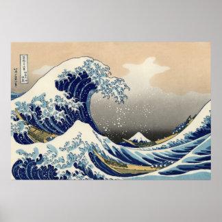 Die große Welle weg von Kanagawa Plakat