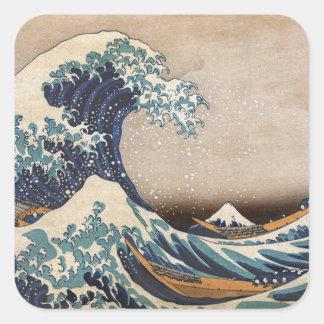 Die große Welle weg von Kanagawa Quadratischer Aufkleber