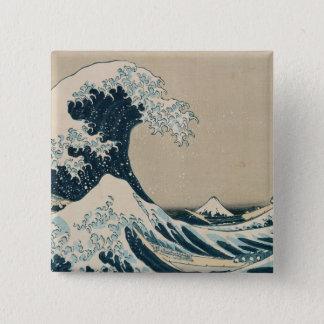 Die große Welle weg von Kanagawa Quadratischer Button 5,1 Cm