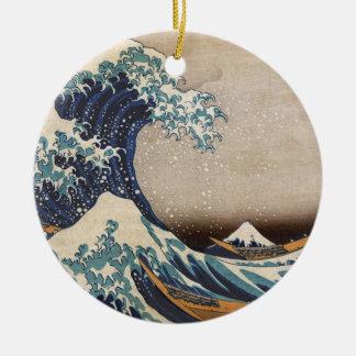 Die große Welle weg von Kanagawa Rundes Keramik Ornament