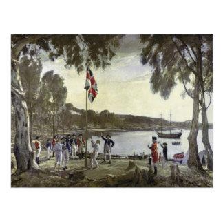 Die Gründung von Australien durch Kapitän Arthur Postkarte