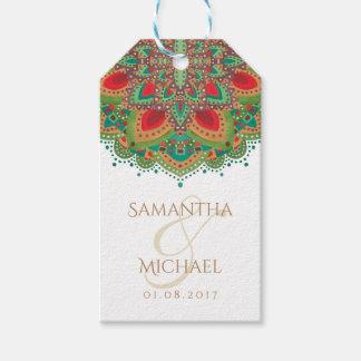 Die grüne Mandala-Hochzeit danken Ihnen, Geschenkanhänger