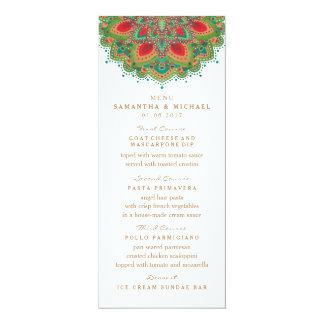 Die grüne Mandala-Hochzeits-Menü-Karte 10,2 X 23,5 Cm Einladungskarte