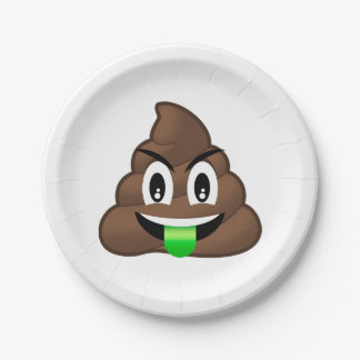 Die grüne verrückte Zunge kacken Emoji Pappteller