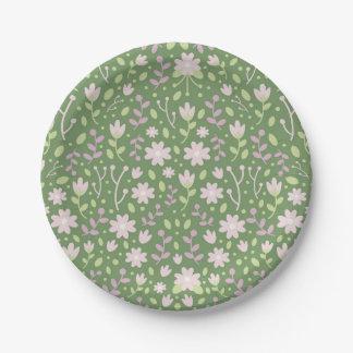 Die grünen blumigen Frühlings-Felder Pappteller