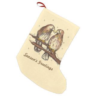 Die Gruß-Rot angebundenes Falke-Vogel-Weihnachten Kleiner Weihnachtsstrumpf