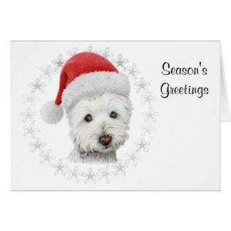 Die Gruß-WeihnachtenWestie Hundekunst-Karte der Karte