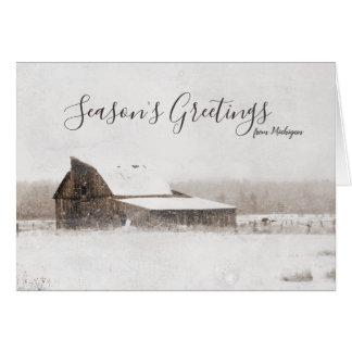 Die Gruß-Winter-Michigan-Scheune der Jahreszeit Karte
