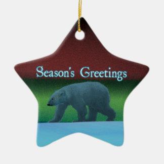 Die Grüße der Jahreszeit - Polarlicht-Eisbär Keramik Ornament
