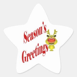 """Die Grüße der lustigen Weihnachtsren """"Jahreszeit """" Sternaufkleber"""