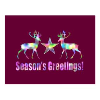 Die Grüße der Pflaumen-Weihnachtsren-Jahreszeit Postkarte