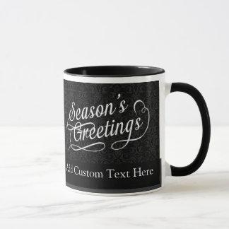 Die Grüße der Schwarzweiss-Damast-Jahreszeit Tasse