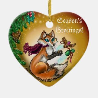 Die Grüße Gifting Fox~ornament der Jahreszeit Keramik Herz-Ornament