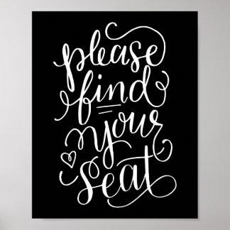 Die Hand, die finden bitte Ihr Seat-Zeichen Poster